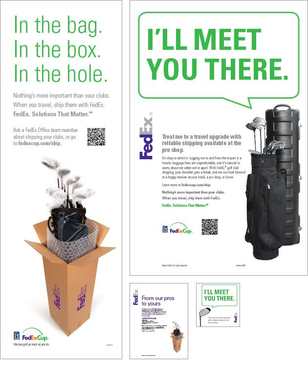 the entire campaign was given extra lift by cross marketing it with the fedexcup website which inferno redeveloped as part of the project - Golf Club Shipping Box